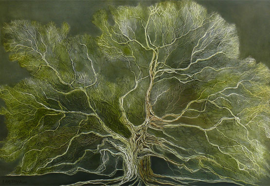 Green Oak Tree 58in x 38in